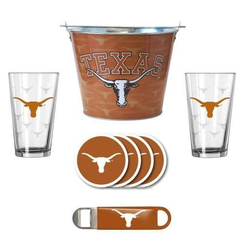 NCAA Texas - Tonal Ice Pail, Pint Glasses (2), Coasters (4) & Bottle Opener Set | Texas Longhorns Beer Bucket Gift Set (Bucket Etch Satin)