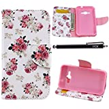 vintage ace case - Galaxy J1 Ace Case Wallet, iYCK Premium PU Leather Flip Folio Carrying Magnetic Closure Protective Shell Wallet Case Cover for Samsung Galaxy J1 Ace / J110M with Kickstand Stand - Pink Peony Flower