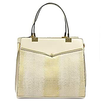 Dilaks 26449 Satchel Bag for Women - Synthetic, Cream