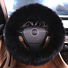 Natural Fur Long wool Fluffy sheepskin car steering wheel cover for Women and Men, Universal Steering Cover, Anti-Slip,Comforting and Luxurious, Soft Texture (Black)