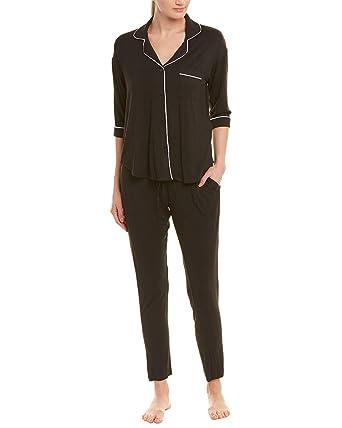 Donna Karan Women s Notch Collar Pajama Set Black Small 94ee51dda