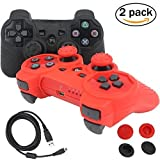 BlueLoong PS3 Controller Wireless Double Shock Black and Red 2 Pack