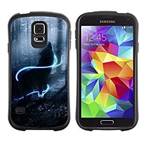 LASTONE PHONE CASE / Suave Silicona Caso Carcasa de Caucho Funda para Samsung Galaxy S5 SM-G900 / Howl Wolf Neon Mystical Mist Nature