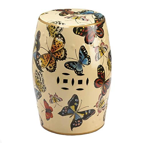 Accent Plus Entryway Bathroom Stool Decorative Butterflies in Flight Footstool - Butterfly Footstool
