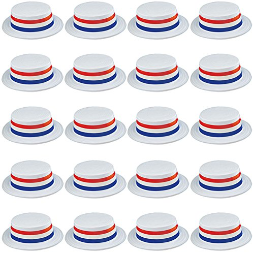 Funny Party Hats Skimmer Hat - 24 Pack - Boater Hats - Patriotic Party Supplies - American Flag Hats]()