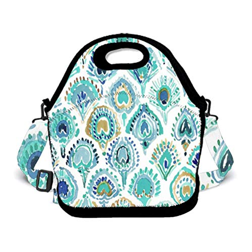 OKAYDECOR Neoprene Lunch Bags for Women and Girl Novel Mermaid Fish Scales Turquoise Insulated Lunch Tote Bag with Zipper