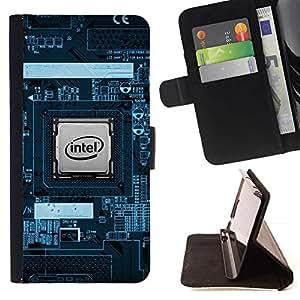Momo Phone Case / Flip Funda de Cuero Case Cover - CPU Procesador PCB Geek;;;;;;;; - Apple Iphone 5C