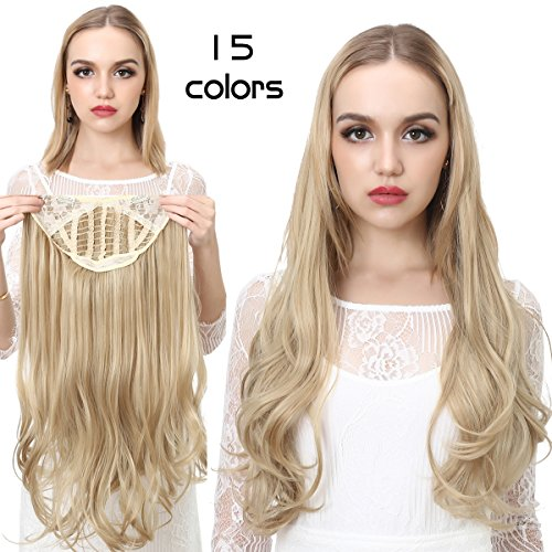 Blonde Clip in Hair Extensions Curly Curl Wave Full Head Long 24'' 0.37lb 170g One Piece U part Synthetic Hairpiece For Women Natural Real Hair Piece Japan High Temperature Fiber(UH17#16H613) by SARLA