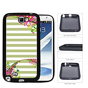 Pastel Olive Green & White Horizontal Stripes With Top & Bottom Floral Flower Vine Swirls Samsung Galaxy Note II 2 N7100 Rubber Silicone TPU Cell Phone Case