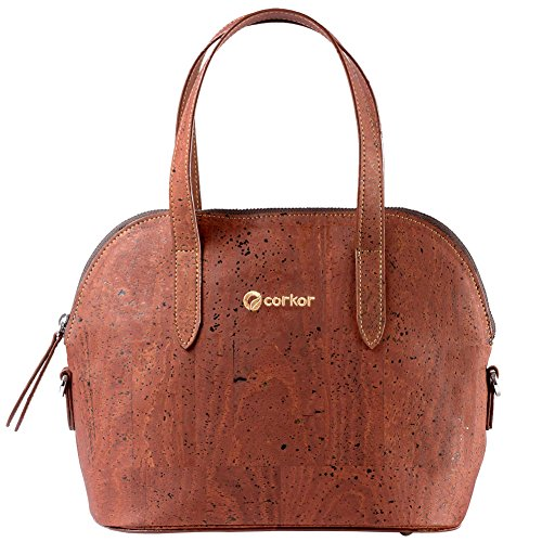 Corkor Top Handle Handbag Tote Small 9 to 5 Crossbody Cork Bag Satchel Natural Red Color by Corkor