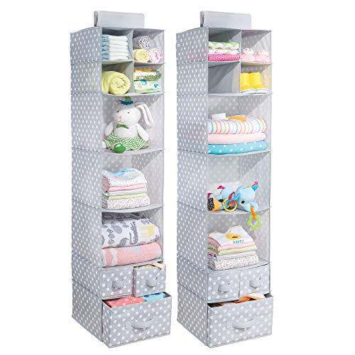 mDesign Soft Fabric Over Closet Rod Hanging Storage Organizer with 7 Shelves and 3 Removable Drawers for Child/Baby Room or Nursery - Polka Dot Pattern, Set of 2, Light Gray with White Dots