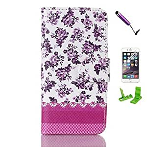 Rosa rugosa Pattern PU Leather Case with Screen Protector and Stylus for