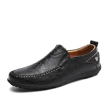 Xiaojuan-shoes, Mocasines con Cordones para Hombres Mocasines con Capucha de Cuero del Pedal