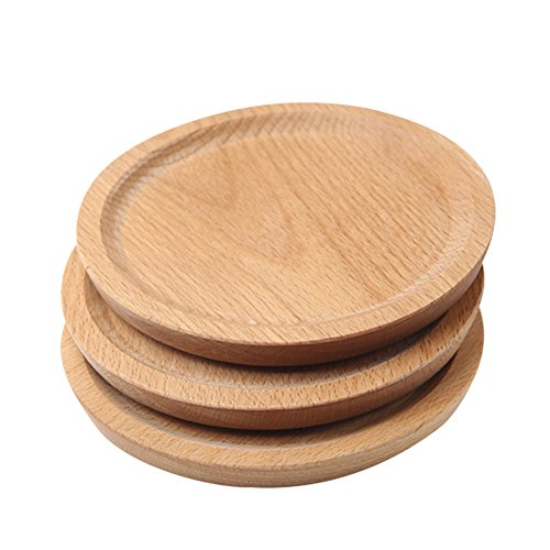 Household Natural Wooden Plate Innovative Beech Coaster Serving Platter Tray Small Plate Wood Baking Tools for Kitchen Dining Room Living Room Cafe Shop Round by jannyshop (Image #2)