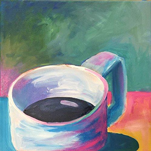 "Original acrylic painting, Cup of Joe 3, on canvas 10"" x 10"""
