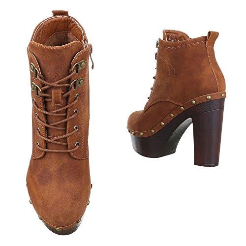 Ital-Design High Heel Stiefeletten Damenschuhe Schlupfstiefel Pump Schnürer Reißverschluss Stiefeletten Camel