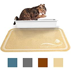Kittycentric Cat Litter Mat Scatter Control- Extra Large 35.4x23.5, Creamy Beige