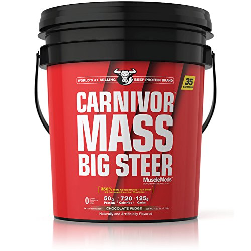 MuscleMeds Carnivor Mass Anabolic Beef Protein Gainer, Big Steer, Chocolate Fudge, 15 Pounds by MuscleMeds