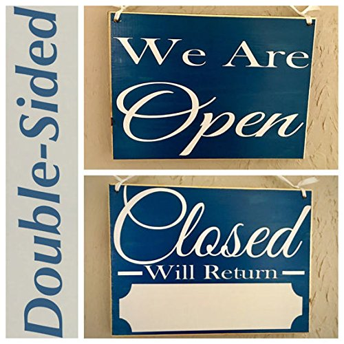Two Sided We Are Open/Closed with Business Hours 10×8 (Choose Color) Salon Spa Store Office Room Custom Rustic Shabby Chic Handmade Wood Door Sign