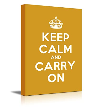 Canvas Wall Art Gallery Wrap Canvas Prints – Keep Calm and Carry On Stretched Dark Yellow Canvas Home Decor Ready to Hang – 12 x 18