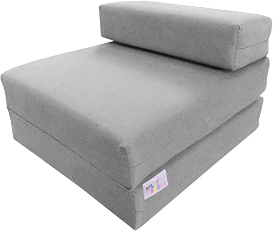 Grey Cotton Twill Fold Out Guest Z Bed Chair Bed Sleeping Spare Mattress