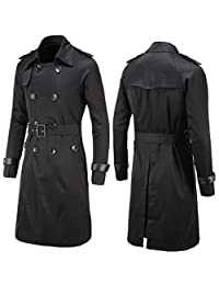 SZYYSD Mens Fashion Autumn Long Thin Double-Breasted Belted Twill Trench Coat