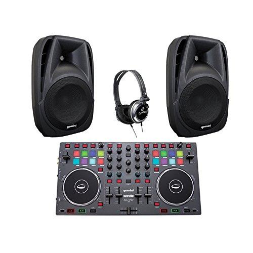 Gemini KITGCIB DJX-03 DJ Headphones, SLATE 4 4-Channel Controller & Pair of ES-08P 8'' Loudspeakers