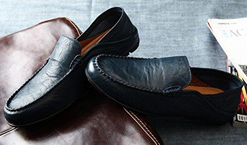 Souple Cuir Sans Chaussure Bateau Chaussure Homme Confortable Bleu Mocassins wealsex Lacet Cuir xqSAYY