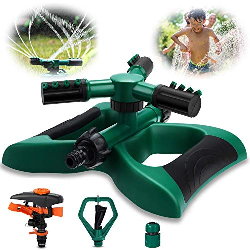 Garden Sprinkler, Vimpro Lawn Sprinkler 3 Arm with Impact Sprinkler Automatic 360 Degree Rotating, Adjustable Angle and Distance, Garden Water Sprinkler Lawn Irrigation System Covers Large Area
