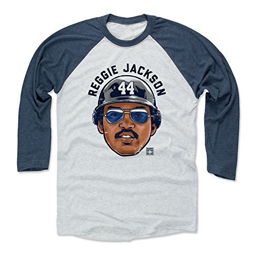500 LEVEL Reggie Jackson Baseball Tee Shirt (XX-Large, Indigo/Ash) - New York Yankees Raglan Tee - Reggie Jackson Bam K (Jackson Reggie Shirts)
