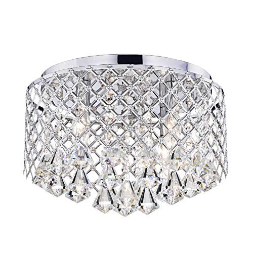 (Nerisa Chrome Crystal Flush Mount Chandelier)