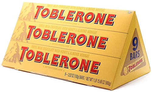 Toblerone Swiss Milk Chocolate With Honey & Almond Nougat 9 Bars in 3.52 oz