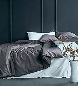 Solid Color Egyptian Cotton Duvet Cover Luxury Bedding Set High Thread Count Long Staple Sateen Weave Silky Soft Breathable Pima Quality Bed Linen (King, Dusty Lilac)