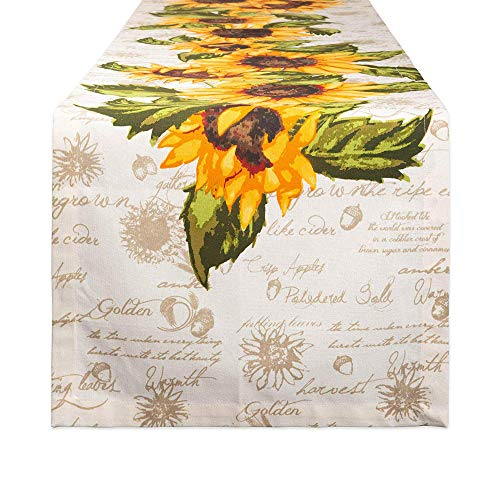 DII Cotton Table Runner for for Dinner Parties, Weddings & Everyday Use, 14x108, Rustic Sunflowers