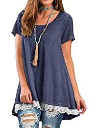 Women's Lace Long Sleee and Short Sleeve Tunic Top Blouse