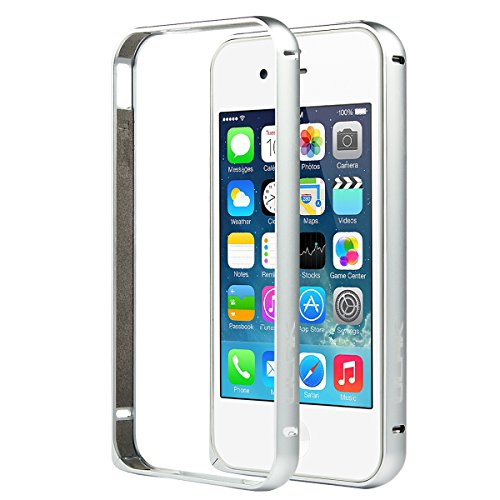 iPhone 4 Case,iPhone 4S Case,4S Case w/Screen Protector & Pen,ULAK Slim Lightweight Aluminum Metal Protective Frame Bumper Case for iPhone 4 4S without Back Panel (Silver)