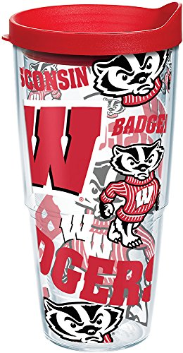 Tervis 1257275 NCAA Wisconsin Badgers All Over Tumbler With Lid, 24 oz, Clear