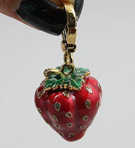 Diamond Strawberry Charm - usongs big clearance jewelry red diamond necklace pendant women girls strawberry keychain