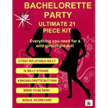 Bachelorette Party Kit Supplies - 21 Piece Set with 3 Foot Inflatable Willy Decoration, 10 Willy Straws, 8 Buttons, Scorecard and Bonus Bride to Be Sash