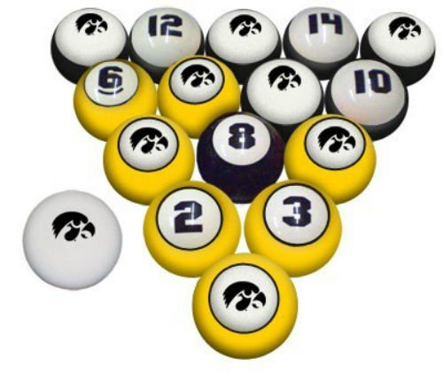 IOWA HAWKEYES NCAA Collegiate Billiards Pool Balls Sets College HAWK EYES by Southern Game Rooms