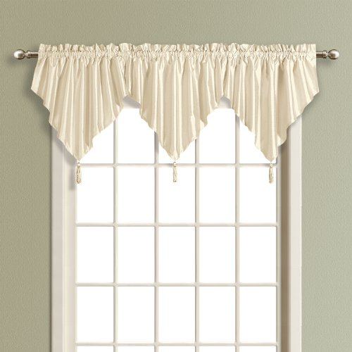 United Curtain Anna Ascot Valance, 42 by 24-Inch, Natural