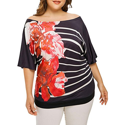 - Women Plus Size Clothing, Floral ANJUNIE Print Off Shoulder Half Sleeve Blouse Pullover Tops Shirt(Red,XXL)