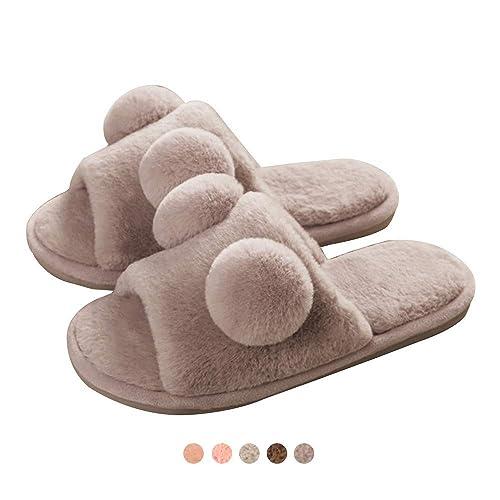 13add6e0421b Womens Open Toe Slipper Fluffy Slip-on House Fur Lined Anti-Skid Sole Dark