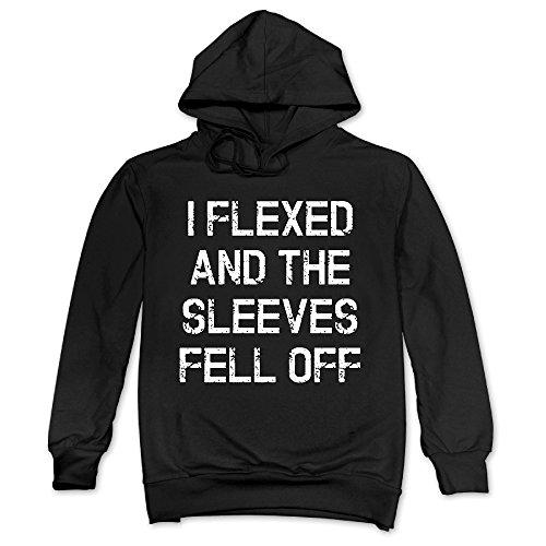 Men's I Flexed And The Sleeves Fell Off 25 Hoodie Sweatshirt Black