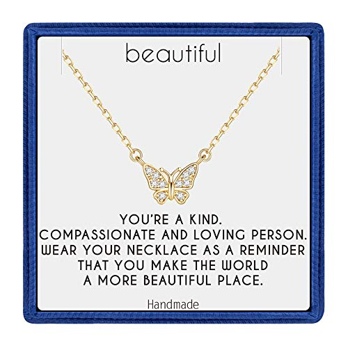 PAERAPAK Butterfly Necklace Teen Girl Gifts - Dainty 14K Gold Filled CZ Butterfly Charm Necklace Inspirational Gifts for Women Wedding Gifts Bridesmaid Gifts Birthday Gifts for Women