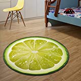 KINGZHUO 3D Print 23.6'' Round Lemon Kids Bedroom soft Carpets Home Living Room Kitchen Rugs Computer Chair Mat
