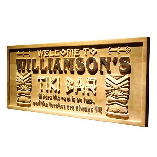 "ADVPRO wpa0134 Name Personalized Tiki Bar Mask Beer Wood Engraved Wooden Sign - Standard 23"" x 9.25"""
