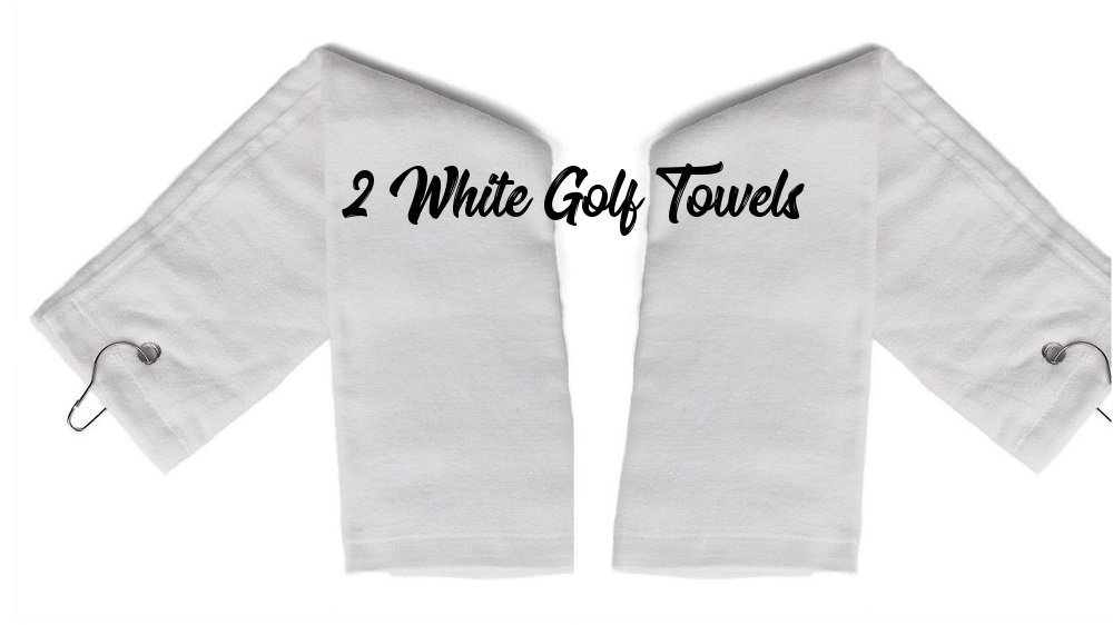 Show Car Guys 2 - White Tri-Fold Cotton Golf Sports Towels With Grommet - Includes Metal Clip, 16'' x 25''