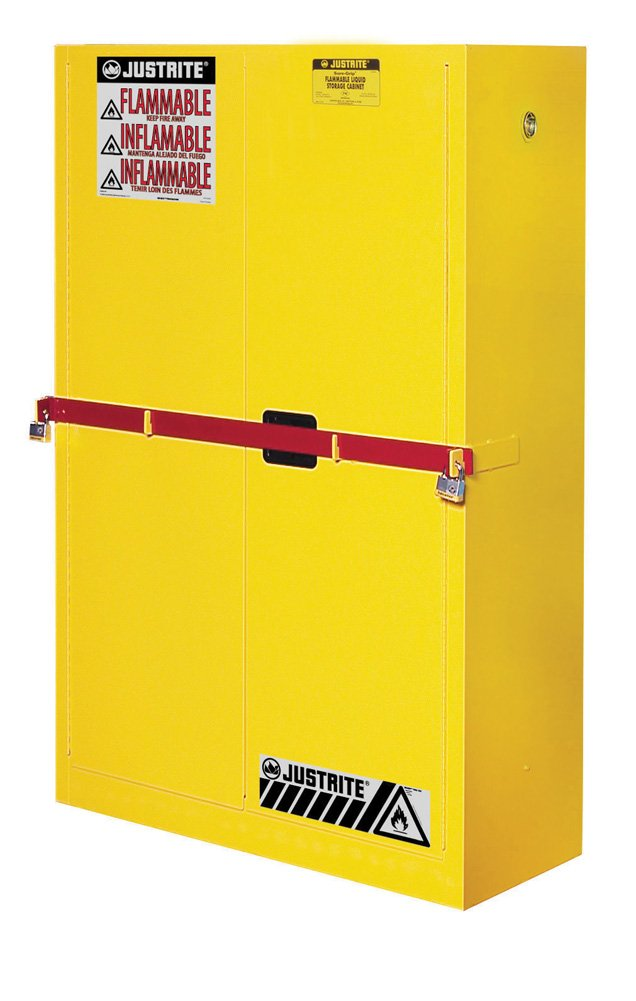 Justrite 29884Y Steel 2 Door Manual Close High Security Flammables Safety Cabinet with Draw Bar, 45 Gallon Capacity, 43'' Width x 65'' Height x 18'' Depth, 2 Shelves, Yellow