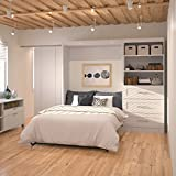 """Bestar Pur 95"""" Full Wall Bed with 3-Drawer Storage Unit in White"""